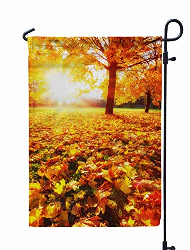 Shorping Welcome Garden Flag, 12x18Inch Sunny Autumn Landscape Golden Maple Trees in The Park for Holiday and Seasonal Double-Sided Printing Yards Flags ()