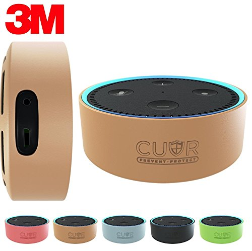 Silicone Case for Amazon Echo Dot with 3M Wall Mount Pad [No Drills] by Cuvr (Hazelnut)