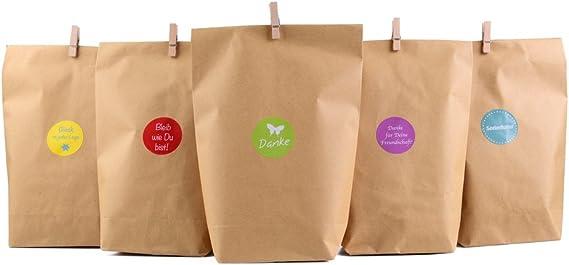 Nahuaa 40 Pezzi Sacchetti di Carta Kraft Regalo Colorati Sacchetto Regalo Caramella Biscotto con 100 Adesivi Sorridenti Borse Carino Ideale per Festa Compleanno Matrimonio Confetti 8 Colori