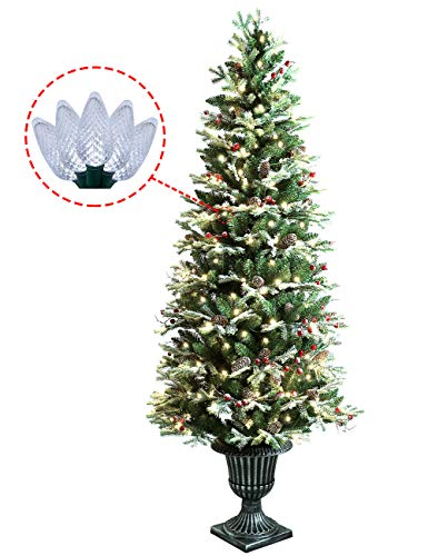 ABUSA Pre-lit Potted Pencil Christmas Tree 6.5 ft Frosted Pine Cones Red Berries Snow 200 LED Lights 428 Branch Tips Realistic Slim Xmas Tree ()