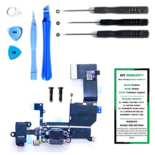 iPhone 5C Charge Port Dock, and Headphone Jack Flex Cable (White) Replacement Kit with DM Tools and Instructions Included - DIYMOBILITY ()