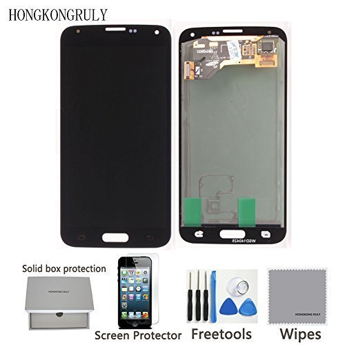 Full LCD display Touch Screen Digitizer Assembly Replacement Part for Samsung Galaxy S5 i9600 G900R G900F G900H G900M G9001 + Free tools (black)