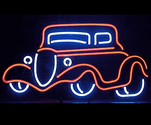 "iecool Drive in Bubble Car Neon Sign 17""x14"" Real Glass Bright Neon Light for Restraurant Fast Food Bar Dinner"