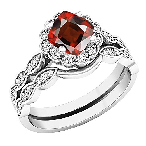 14K White Gold 5.5 MM Cushion Garnet & Round Diamond Ladies Halo Engagement Ring Set (Size 8) by DazzlingRock Collection