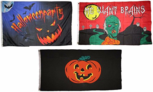 ALBATROS 3 ft x 5 ft Happy Halloween 3 Pack Flag Set #72 Combo Banner Grommets for Home and Parades, Official Party, All Weather Indoors Outdoors