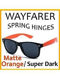 Pofs Retro Classic Wayfarer Sunglasses - Matte Orange Temple