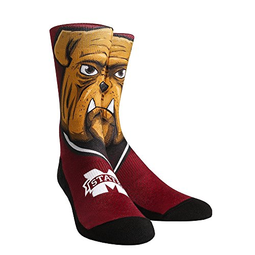 Mississippi State Bulldogs Rubber - Rock'em Apparel NCAA Mississippi State Bulldogs Custom Athletic Crew Socks, Small/Medium, Bully Bulldog Mascot