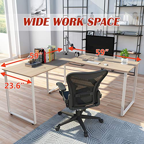 Merax 59-Inch L-Shaped Desk with Metal Legs Office Desk Corner Computer Desk PC Laptop Table Workstation, Oak Finish (WF00932)