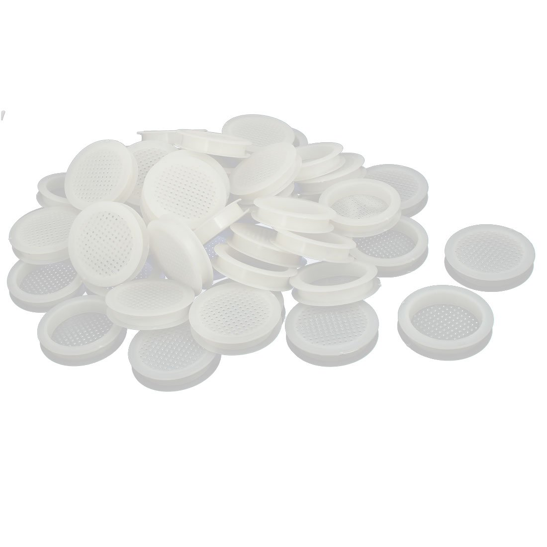 uxcell Shoes Cabinet 10mm Plastic Square Mesh Hole Air Vent Louver Cover White 100pcs