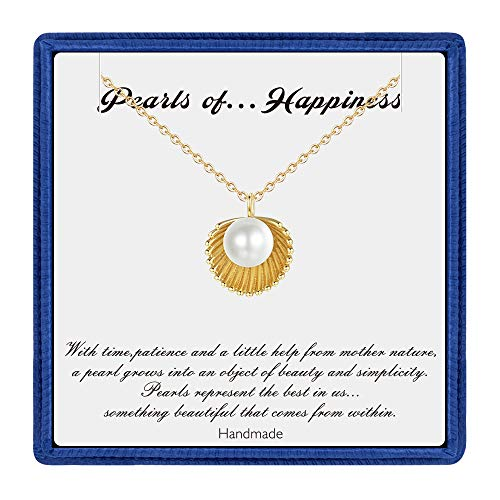 PAERAPAK Pearl Necklace for Women Gifts - 14K Gold Filled Handmade Shell Necklace Dainty Pearl Necklace Birthday Gifts for Women Bridesmaid Gifts Wedding Gifts from PAERAPAK