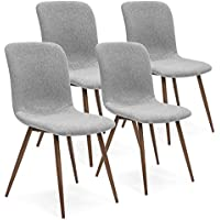 Best Choice Products Set of 4 Mid Century Modern Dining Room Chairs w/Fabric Upholstery & Wood Legs (Gray)