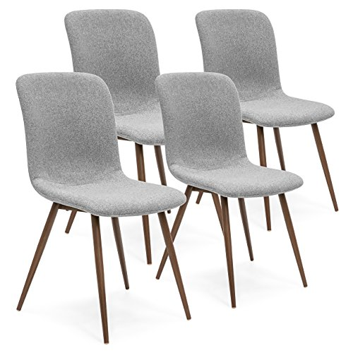 Best Choice Products Set of 4 Mid-Century Modern Dining Room Chairs w/Fabric Upholstery and Metal Legs - Gray