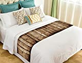 NNBZ Custom Vintage Rustic Knotty Old Barn Wood Bed Runner Cotton Bedding Scarf Bedding Decor 20x95 inches