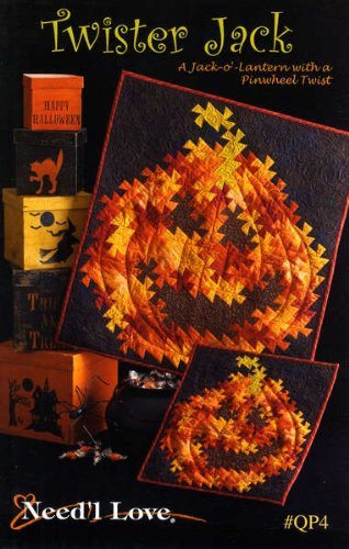 Twister Jack quilt pattern, a Jack-o-lantern with a pinwheel twist, Halloween wall hanging quilts for $<!--$8.32-->