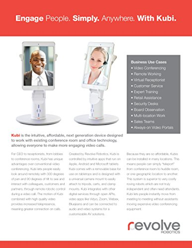 KUBI Secure iPad Air/Air2 Telepresence Robot with Keyed Kensington-style lock with 3' cable, Web controlled Video Conferencing Robotic Desktop Tablet Stand with Far End Camera Controls by Kubi (Image #3)