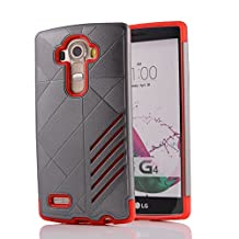 MOONCASE LG G4 Case Hybrid Armor Tough Rugged [Anti Scratch] Dual Layer TPU +PC Frame Protective Case Cover for LG G4 Grey Red