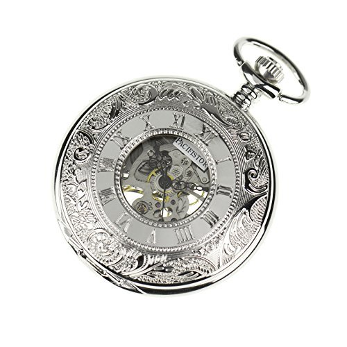 PACIFISTOR Steampunk Silver Hands Scale Mechanical Skeleton Pocket Watch Hand Wind (Silver Watch Steel Pocket Stainless)