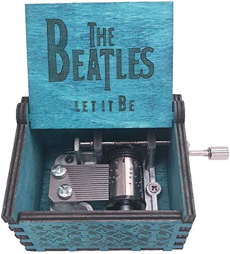 SIQI The Beatles Music Box Hand Crank Music Box Carved Wood Musical Gifts, Plays Let It Be, Blue