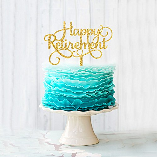 Happy Retirement Acrylic Cake Topper Party Sign Gold