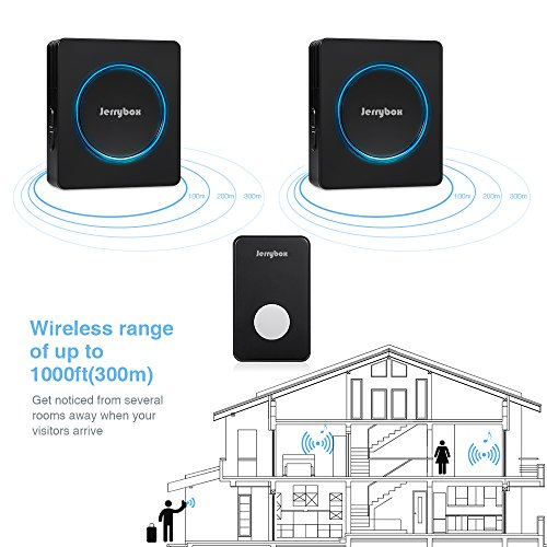[해외]Jerrybox DT52 Wireless Doorbell Kit (차임 유닛 2 개 포함) 48 멜로디 1000 피트 작동 범위 (검정색)/Jerrybox DT52 Wireless Doorbell Kit with 2