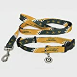 Oakland A's Athletics Pet Set Dog Leash Collar ID Tag MEDIUM