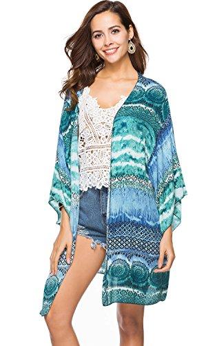 CHERRY CAT Swimsuit Beach Cover ups Beachwear Coverups Swim Kaftan Floral Maxi Cardigan Swimwear (US 6-14, (Marine Ups)
