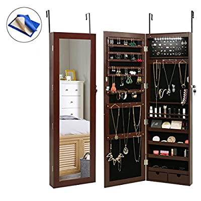 HollyHOME Mirrored Jewelry Cabinet Lockable Wall Door Mounted Jewelry Armoire Organizer with LED Light