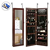 HollyHOME Mirrored Jewelry Cabinet Lockable Wall Door Mounted Jewelry Armoire Organizer with LED Light, Brown