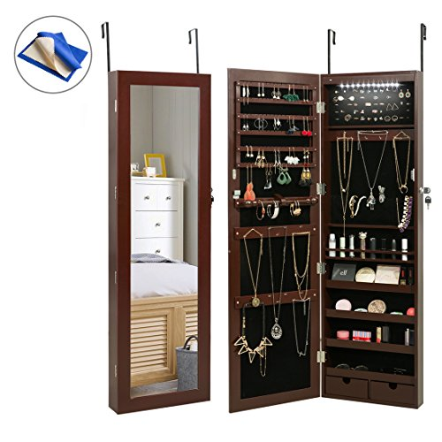 HollyHOME Mirrored Jewelry Cabinet Lockable Wall Door Mounted Jewelry Armoire Organizer with LED Light, Brown (Mirror Jewelry Wall Armoire)