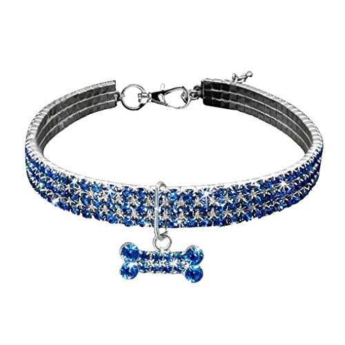 Necklace for Small Dog Girl Wakeu Rhinestone Bling Collars with Bone Pendant (S, Blue)
