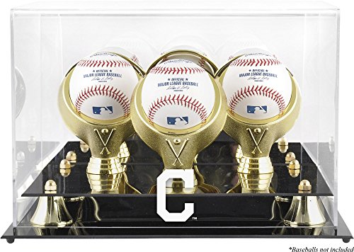 Indians Display Cleveland Baseball (Cleveland Indians Golden Classic Three Baseball Logo Display Case)