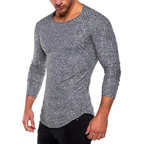 - iLXHD Men's Slim Fit O Neck Long Sleeve Muscle Tee T-Shirt Casual Tops Blouse(Deep Gray,L)