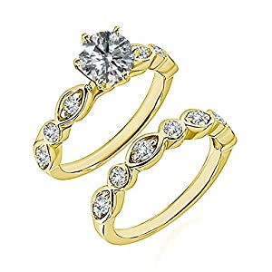 0.7 Carat G-H I2-I3 Diamond Engagement Wedding Anniversary Halo Bridal Ring Set 14K Yellow Gold
