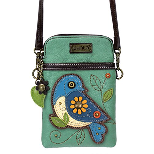 Chala Crossbody Cell Phone Purse-Women PU Leather Multicolor Handbag with Adjustable Strap - Bluebird - Teal (Bluebirds The)