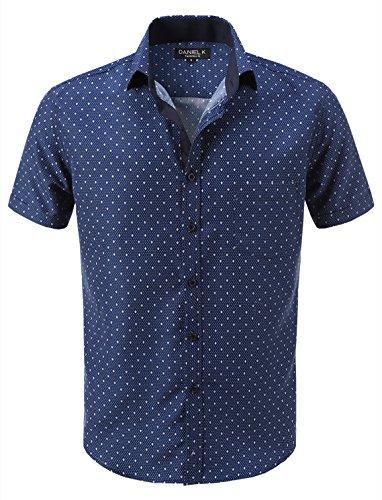 Spring Pattern Oxford - 7 Encounter 7Encounter Men's Spread Collar Slim-Fit Pattern Oxford Short Sleeve Shirt D117 L