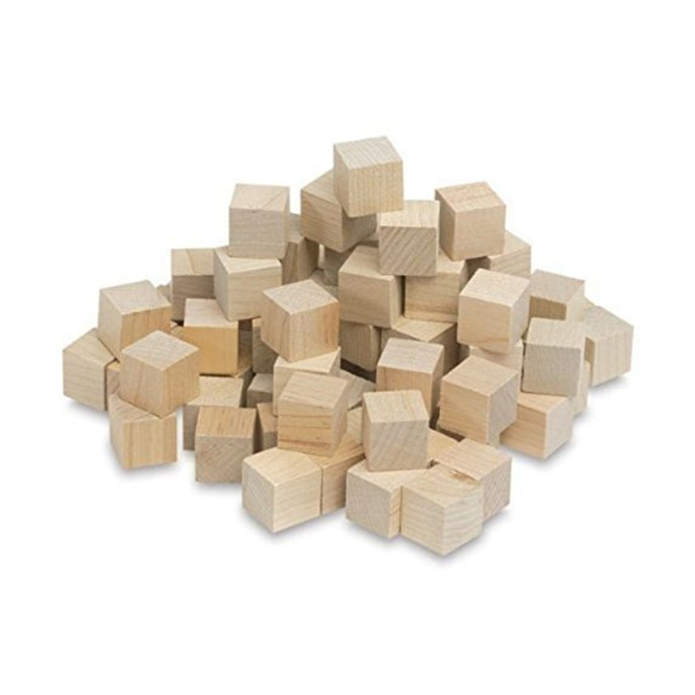 """1/2 Inch Wood Cubes, Natural Unfinished Craft Wood Blocks (1/2"""") - by Craftparts Direct - Bag of 100 SQ0500100"""