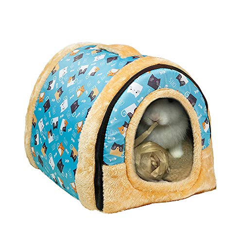 Rabbit Bed Tent Large Sleeping House Warm Fleece Hideout Foldable Cave Winter Hut for Rabbits Chinchillas Guinea Pigs Ferrets Hedgehogs Rats and Cats (Sky Blue)