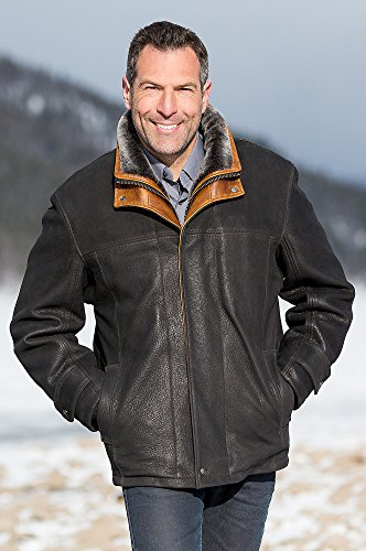 Jack Frost Leather Coat with Shearling Lining, BLACK, Size 44 by Overland Sheepskin Co (Image #1)