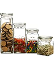 Circleware 92044 Yorkshire Heritage Antique Mason Jar Glass Canisters with Lids, Set of 4, Kitchen Glassware Food Preserving Containers Sugar, Tea, Spices, Cereal 80 oz, 57 oz, 43 oz, 28 oz 4pc