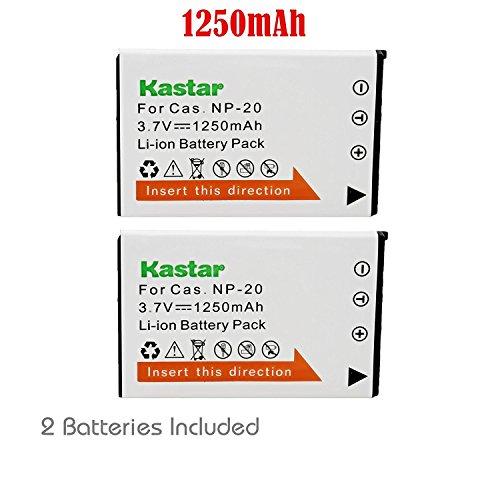 Cta Camera Battery (Kastar 2x Battery for Casio NP-20 & Exilim EX-M1 EX-M2 EX-M20 EX-S1 EX-S2 EX-S3 EX-S20 EX-S100 EX-S500 EX-S600 EX-S770 EX-S880 EX-Z4 EX-Z5 EX-Z6 EX-Z7 EX-Z8 EX-Z11 EX-Z60 EX-Z65 EX-Z70 EX-Z75 EX-Z77)