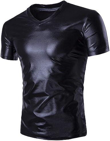 Hombres Club Fiesta Camiseta Lentejuelas Delgada Ropa Sexy - Brillante Metálico Camisa Deportiva Manga Corta Color Negro Dorado Plateado Liso: Amazon.es: Ropa y accesorios