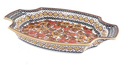 OKSLO Polish pottery autumn rose large serving tray