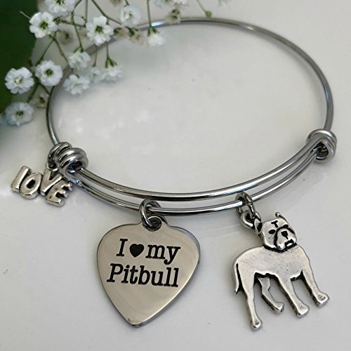 Pitbull Bracelet Three ~ Charm Bangle for Dog Owners ~ Pet Themed Jewelry