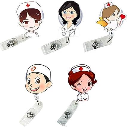 STOBOK 5 Pack Nurse Doctor Retráctil Badge Holders Porta carrete Badge Clip Nombre lindo Titular de la tarjeta para enfermera y Doctor: Amazon.es: Oficina y papelería