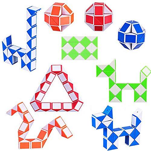 Huture 9PCS 24 Blocks Snakes Dice Twist Fidget Sensory Toys Speed Snake Ruler Cube Puzzle Plastic Toys for Kids Party Bag Filler Party Favors Party Supplies (4 Color)