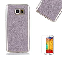 For Samsung Galaxy Note 5 Case [with Free Screen Protector].Funyye Soft Ultra Thin Gel Silicone TPU Shock Proof Durable Scratch Resistant Glitter Protective Case Cover Skin Shell for Samsung Galaxy Note 5-Purple