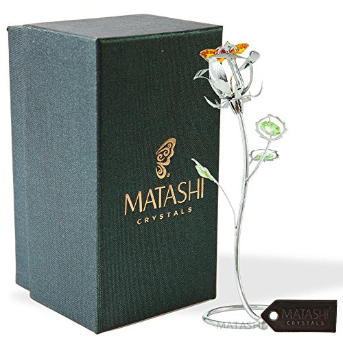 Matashi Everlasting Rose Flower Tabletop Ornament Metal Decorative Home Décor, Gift for Mother (7 inch Rose, Silver with Colored Crystals)