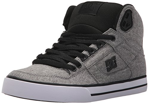 DC Men's Spartan High WC TX SE Skate Shoe, Black/Heather Grey, 12 D US