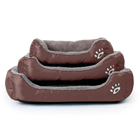 LA VIE Sofá Cama para Perro Impermeable en la Base Cojín Cama Cómoda y Suave para Mascotas Cesta para Gatos Cachorros Perros Pequeños y Medianos S Castaño: ...