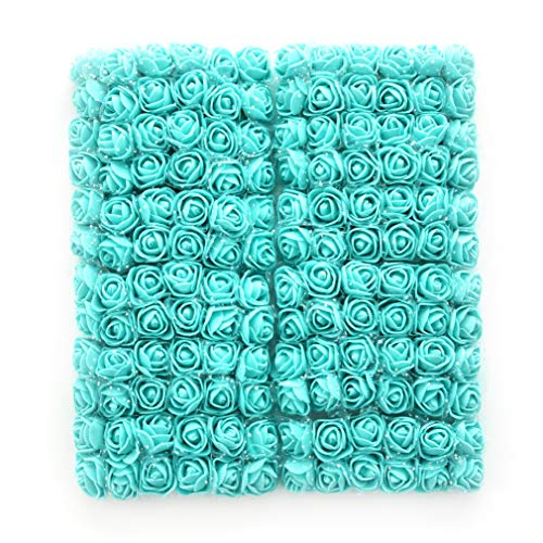 Roses Fake Flowers Heads Artificial Rose Flowers DIY 144 PCS Head Rose Flowers Wedding Bride Bouquet PE Foam DIY Party Festival Home Decor Rose Flowers (Tiffany) ()